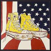 Converse Paintings - Yellow Sneakers by Mike Stanko
