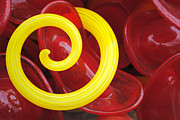 Glass Art Glass Art Posters - Yellow Spiral Left 1 Poster by Jon Kerr