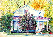 Old School House Painting Posters - Yellow Springs History Poster by Judy Jennings