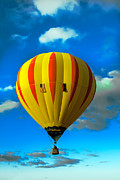 Airships Posters - Yellow Sripped Hot Air Balloon Poster by Robert Bales