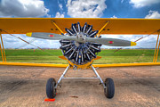 Plane Radial Engine Framed Prints - Yellow Stearman Framed Print by Tim Stanley