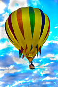 Arizonia Posters - Yellow Striped Hot Air Balloon Poster by Robert Bales