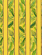 Yellow Striped Palms Textile Pattern Print by John Keaton