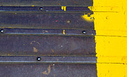 Metal Prints - Yellow Striped Print by Rebecca Cozart