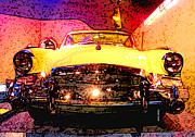 Yellow Mixed Media Prints - Yellow Studebaker Headlights Print by Design Turnpike