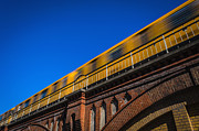 Bahn Prints - Yellow subway going overground on bridge Print by Ingo Jezierski