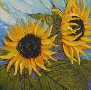 Paris Wyatt Llanso Metal Prints - Yellow Sunflower Study Metal Print by Paris Wyatt Llanso