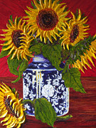 Paris Wyatt Llanso Posters - Yellow Sunflowers in a Vase Poster by Paris Wyatt Llanso