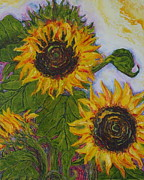 Paris Wyatt Llanso Prints - Yellow Sunflowers Print by Paris Wyatt Llanso