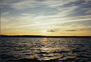 Reflection Of Sun In Clouds Metal Prints - Yellow Sunrise in Manhassett Bay Metal Print by John Telfer