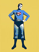 Superman Mixed Media Prints - Yellow Superman Print by Dominic Piperata
