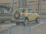 Parking Drawings - Yellow SUV by Donald Maier
