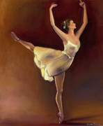 Dance Shoes Painting Posters - Yellow swan Poster by Desiree  Rose