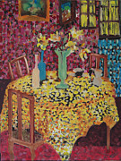 Interior Still Life Mixed Media Posters - Yellow Table Poster by Karen Coggeshall
