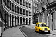 Cab Framed Prints - Yellow Taxi in London Framed Print by Jim Hughes