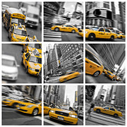 Taxis Photos - Yellow taxis collage by Delphimages Photo Creations