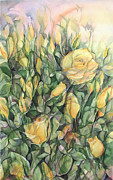 Lynne Bolwell Prints - Yellow Tea Roses Print by Lynne Bolwell