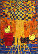 Prairie Dog Tapestries - Textiles Metal Prints - Yellow Tree With Chickens Metal Print by Jean Baardsen