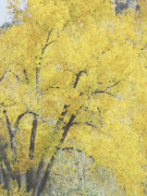 Yellow Leaves Digital Art Prints - Yellow Trees Print by Ann Powell