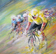 Art Cyclisme Prints - Yellow Triumph Print by Miki De Goodaboom