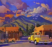 Clouds Sunset Painting Prints - Yellow Truck Print by Art West