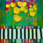 Oklahoma Mixed Media Framed Prints - Yellow Tulips abstract art Framed Print by Ann Powell