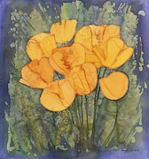 Batik Tapestries - Textiles Metal Prints - Yellow Tulips Metal Print by Carolyn Doe