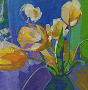 Flower Still Life Prints Prints - Yellow Tulips in a Blue Vase Print by Tanya Filichkin