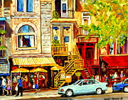 Outdoor Cafes Posters - Yellow Umbrellas On Rue St Denis Cafe Paintings Montreal Summer City Scenes Cafe Soleil Bistro  Poster by Carole Spandau