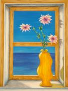 Sea View Framed Prints - Yellow Vase With Sea View Framed Print by Pamela Allegretto