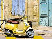 Douglas Photos - Yellow Vespa by Douglas J Fisher