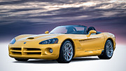 Viper Digital Art Framed Prints - Yellow Viper Convertible Framed Print by Douglas Pittman