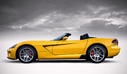Viper Digital Art Framed Prints - Yellow Viper Roadster Framed Print by Douglas Pittman
