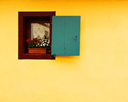 Alsace Framed Prints - Yellow Wall with Green Shutter in Eguisheim Framed Print by Greg Matchick
