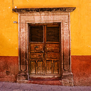 San Miguel De Allende Framed Prints - Yellow Wall Wooden Door Framed Print by Carol Leigh