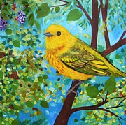 Wisteria Mixed Media Prints - Yellow Warbler Print by Marirosa Hofmann