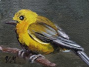 Deforestation Paintings - Yellow Warbler mini by Viktoria K Majestic