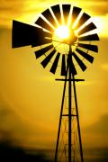 Windmill Posters - Yellow Wind Poster by Jerry McElroy