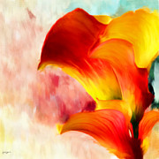 Calla Lily Digital Art Posters - Yellow With A Red Poster by Lourry Legarde