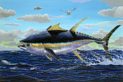 Tuna Paintings - Yellowfin crash Off0081 by Carey Chen