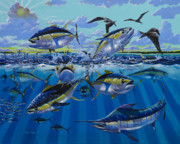 Dolphin Art Paintings - Yellowfin run Off002 by Carey Chen