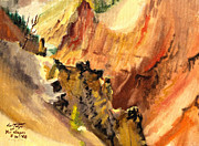 Canyons Paintings - Yellowstone Canyon Buttress by Art By Tolpo Collection