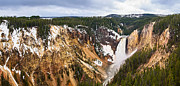 Colored Rocks Posters - Yellowstone Falls Panorama Poster by Jamie Pham