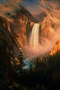 Yellowstone Paintings - Yellowstone Falls by Pg Reproductions