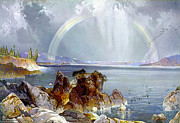 Yellowstone Park Scene Prints - Yellowstone Lake 1875 Print by Unknown