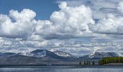 Cumulus Clouds Posters - Yellowstone Lake Cloudscape Poster by Sandra Bronstein