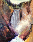 Canyons Paintings - Yellowstone Lower Falls - 1939 by Art By Tolpo Collection