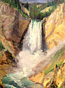Canyons Paintings - Yellowstone Lower Falls   by Art By Tolpo Collection
