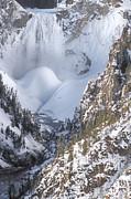Yellowstone -  Lower Falls In Winter Print by Sandra Bronstein