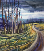 Scenic Drive Painting Posters - Yellowstone National Park road watercolor painting Poster by Cristina Movileanu